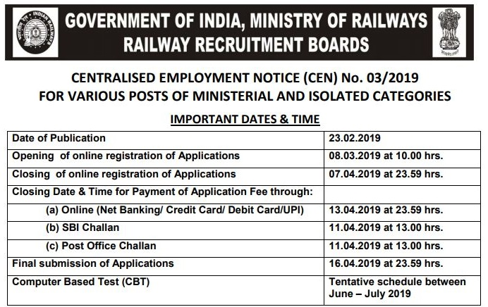 RRB Allahabad Admit Card NTPC 2019 Released