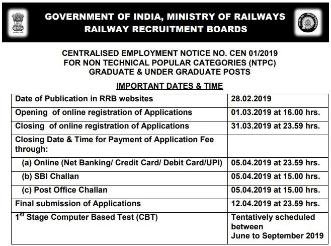 RRB NTPC Admit Card Released Date 2019 Update