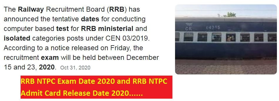 RRB NTPC Exam Date 2020 and RRB NTPC Admit Card