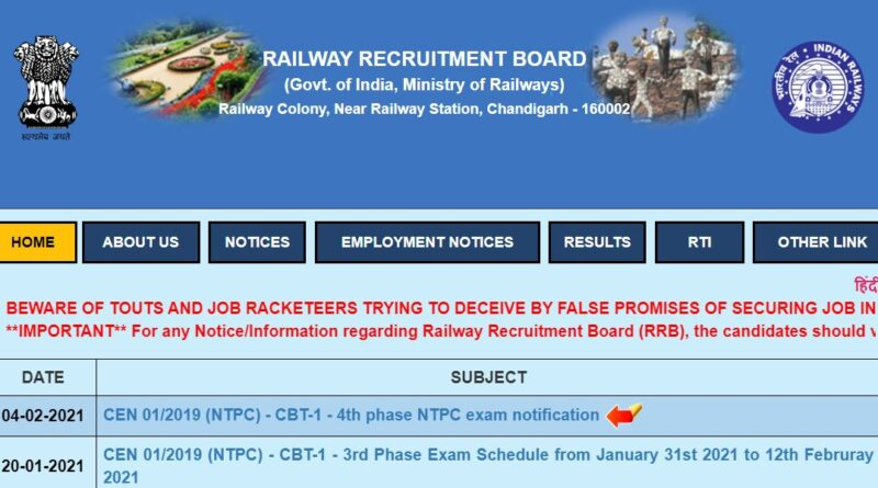 RRB NTPC Admit Card of 4th Phase CBT Exam Released 2021