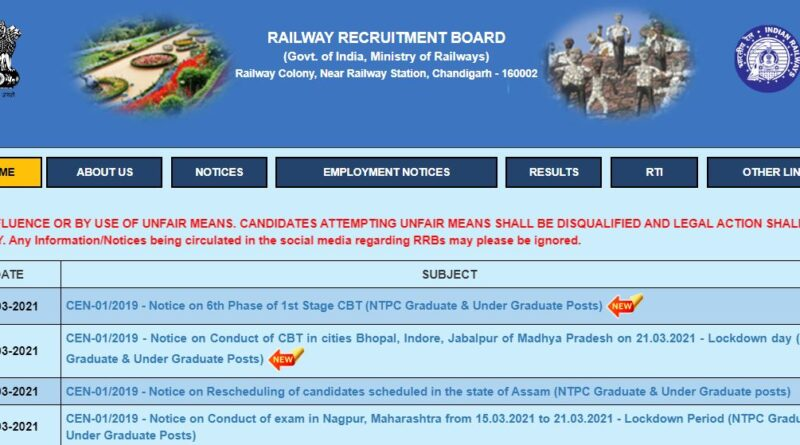 RRB NTPC Phase 6 Admit Card Released 2021